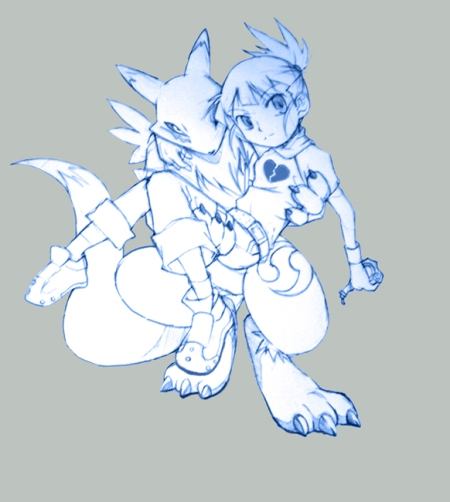 Comes from Deviantart... will find link soon.... Renamon and her tamer... forgotten name....lol