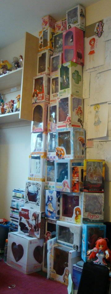 My figure box tower. 3 wide now. Has been like that for a while actually. 2 more to be added in the next month or so I believe. (Nagi and Shirley.)