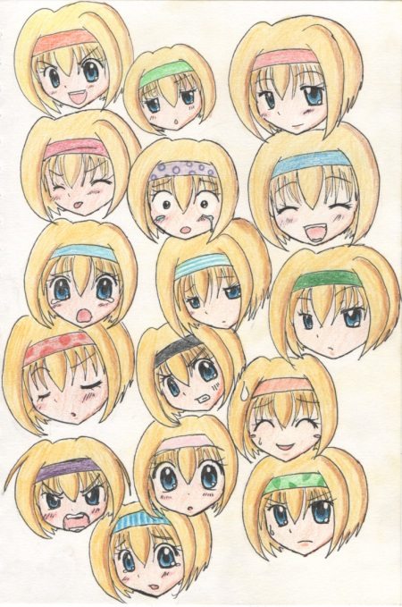 Pencil coloured expression sheet. The other one was quickly photoshopped. Pencil coloring was faster.... lol..