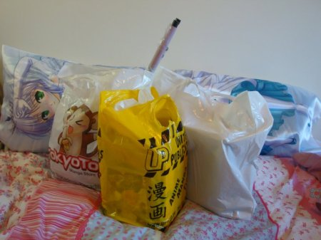My loot. 3 bags. Decent sized bags. As you might be able to tell from the length of the wallscroll lol.