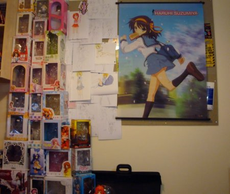 My lovely figure box tower, and my Haruhi wallscroll.
