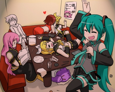 One of two very cute Vocaloid Karaoke pics I found on Gelbooru.