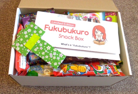 The inside of the Fukubukuro box. Why aren't English snacks as vibrantly packaged??