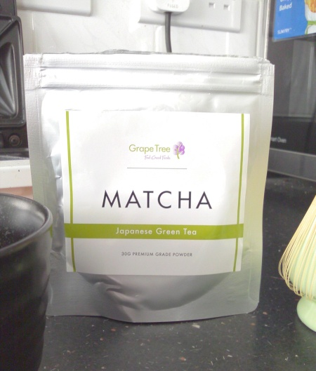 Grape Tree's Matcha, 30g packet for £6.99. Most matcha seems to be sold in 25-50g packs.